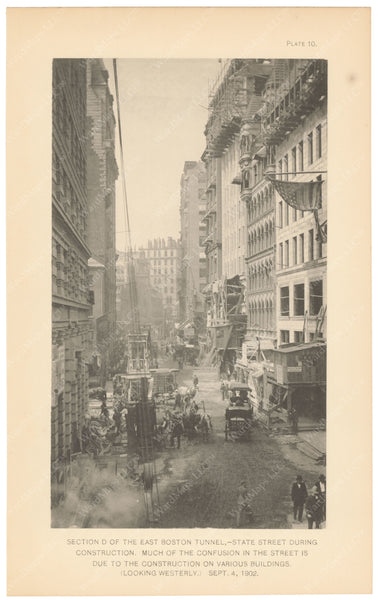 BTC Annual Report 09, 1903 Plate 10: State Street During Construction of East Boston Tunnel