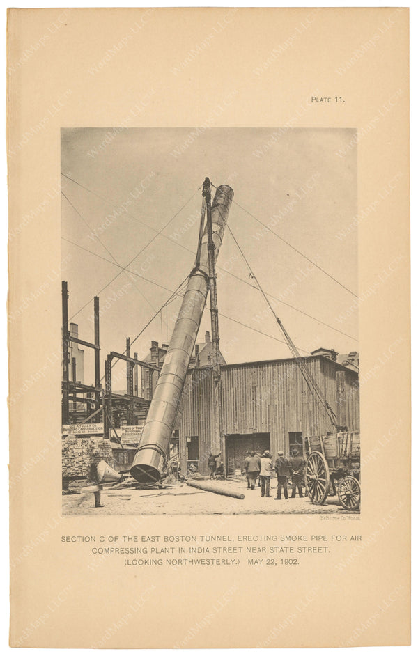 BTC Annual Report 08, 1902 Plate 11: East Boston Tunnel, Smoke Pipe Erection