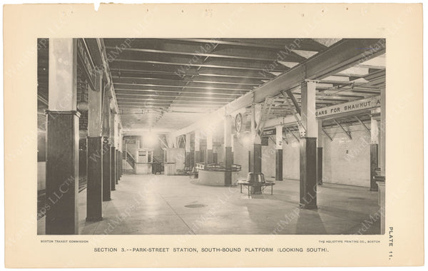 BTC Annual Report 04, 1898 Plate 11: Park Street Station, Westbound Platform Looking South