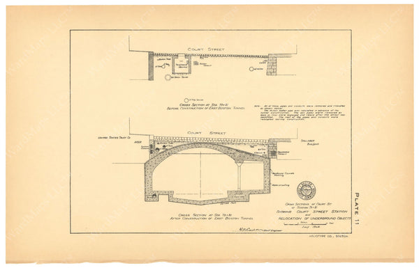 BTC Annual Report 10, 1904 Plate 11: Court Street Station Cross Section