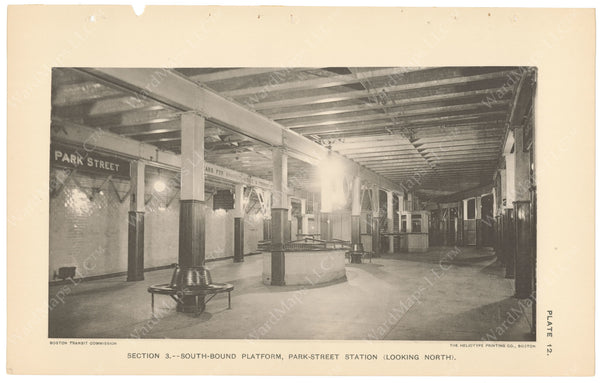BTC Annual Report 04, 1898 Plate 12: Park Street Station, Westbound Platform Looking North
