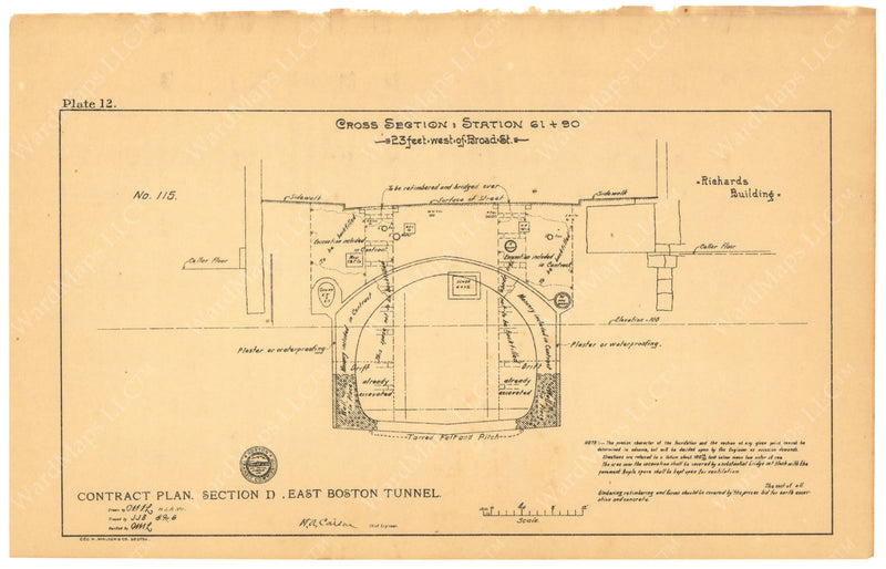 BTC Annual Report 08, 1902 Plate 12: East Boston Tunnel Cross Section 61+90