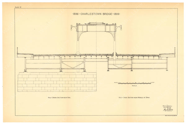 BTC Annual Report 06, 1900 Plate 12: Charlestown Bridge Cross Section