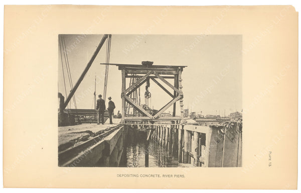 BTC Annual Report 06, 1900 Plate 13: Charlestown Bridge, Depositing Concrete at Piers