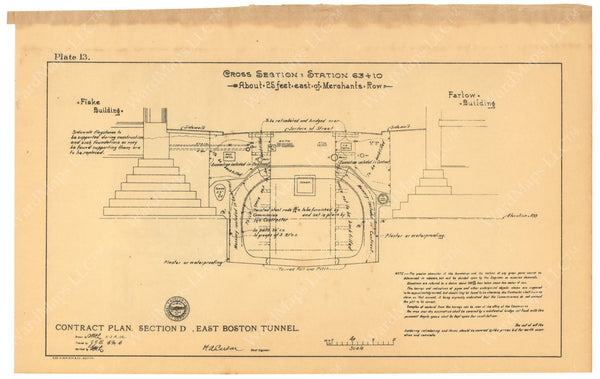 BTC Annual Report 08, 1902 Plate 13: East Boston Tunnel Cross Section 63+10