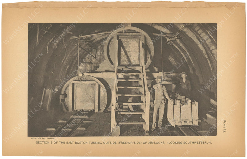 BTC Annual Report 07, 1901 Plate 13: East Boston Tunnel, Outside Airlocks