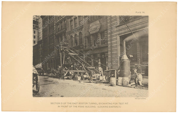 BTC Annual Report 08, 1902 Plate 14: East Boston Tunnel Excavation at Fiske Building