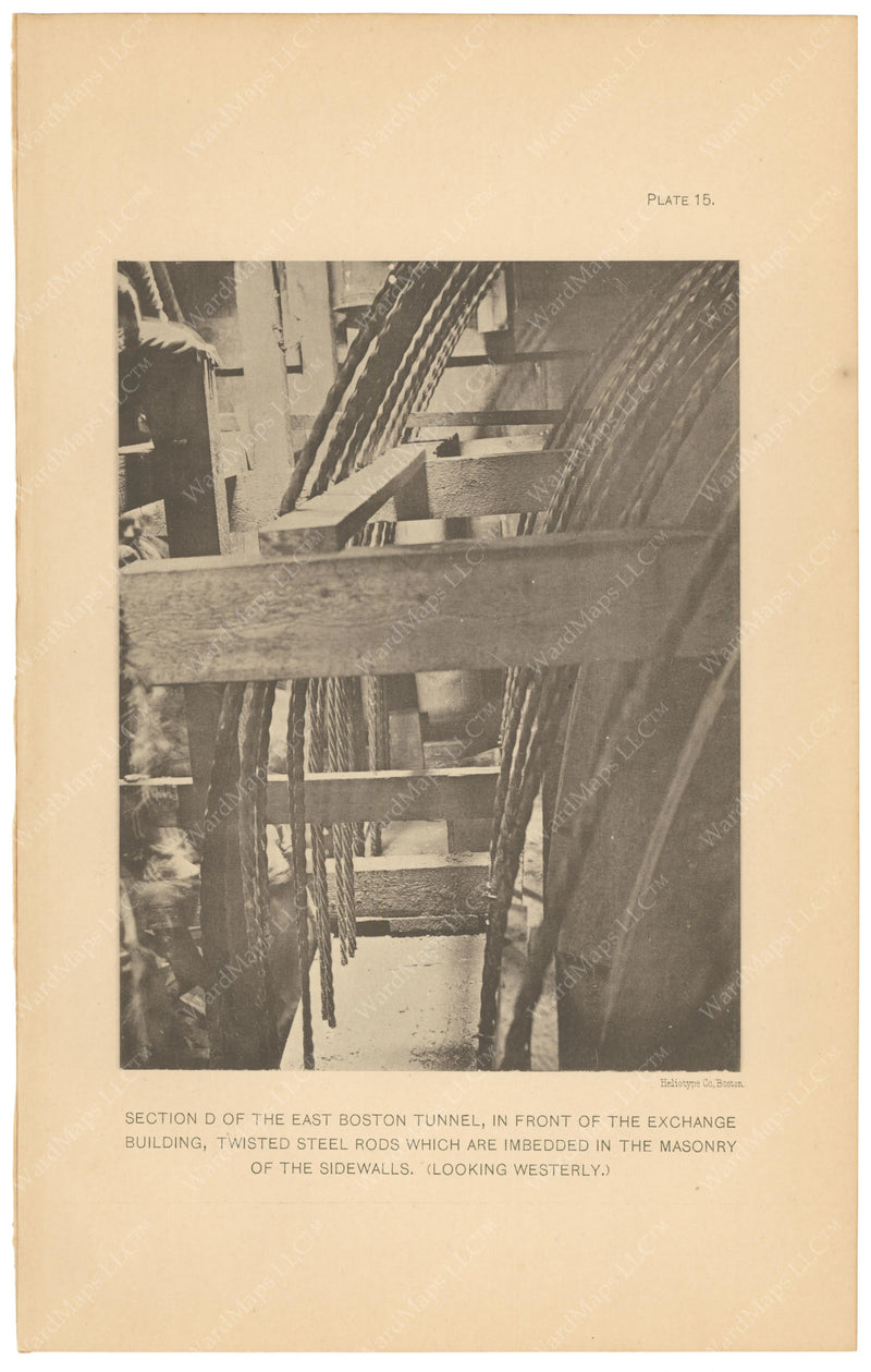 BTC Annual Report 08, 1902 Plate 15: East Boston Tunnel, Steel Rods in Sidewalls