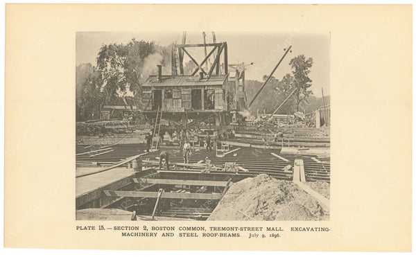 BTC Annual Report 02, 1896 Plate 15: Excavating Machine on Tremont Street Mall