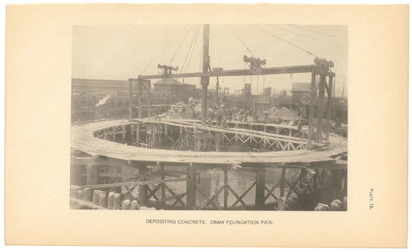 BTC Annual Report 06, 1900 Plate 15: Charlestown Bridge, Depositing Concrete at Draw Foundation
