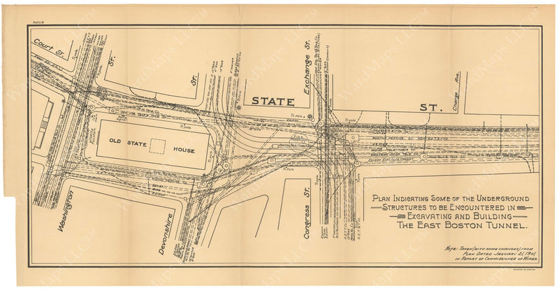BTC Annual Report 08, 1902 Plate 16: East Boston Tunnel, State Street Structures