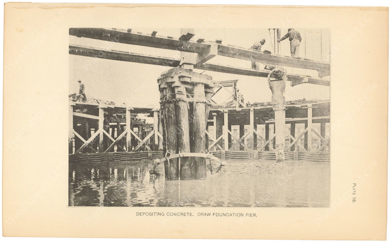 BTC Annual Report 06, 1900 Plate 16: Charlestown Bridge, Depositing Concrete at Draw Foundation