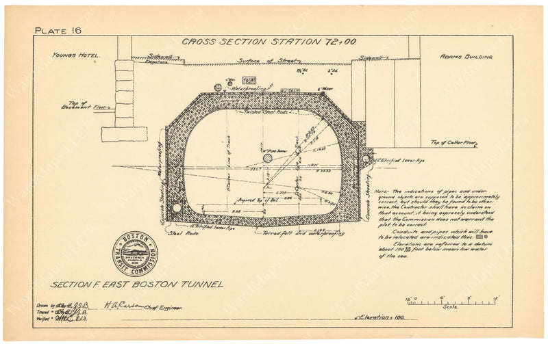 BTC Annual Report 09, 1903 Plate 16: East Boston Tunnel Cross Section at State Street