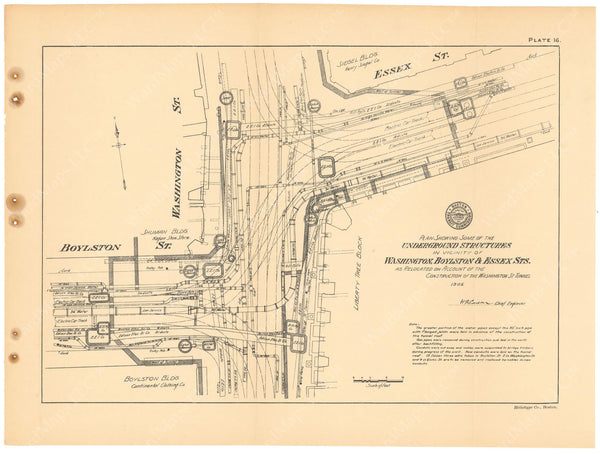 BTC Annual Report 11, 1905 Plate 16: Underground Structures, Washington at Essex Streets