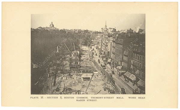 BTC Annual Report 02, 1896 Plate 16: Construction at Tremont Street Mall