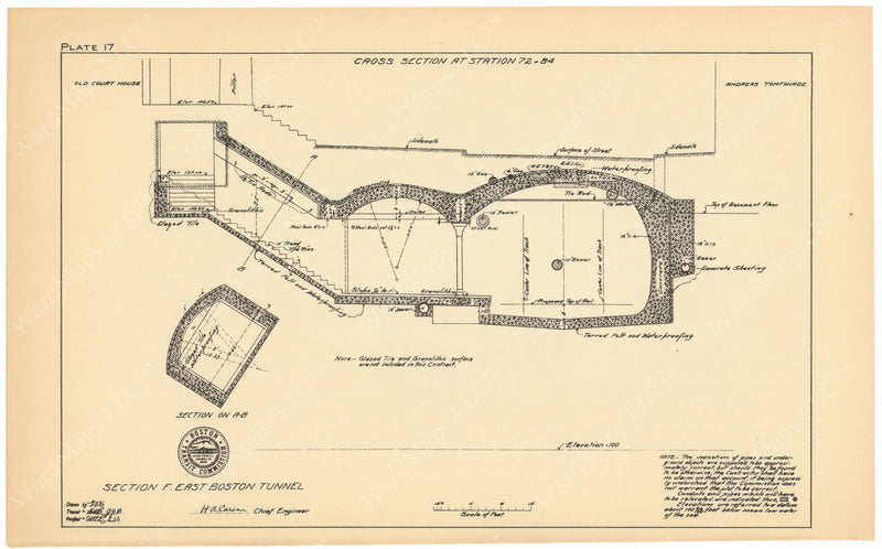 BTC Annual Report 09, 1903 Plate 17: Court Street Station Cross Section