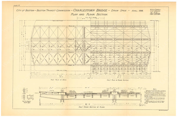 BTC Annual Report 06, 1900 Plate 17: Charlestown Bridge, Draw Plan and Floor Section