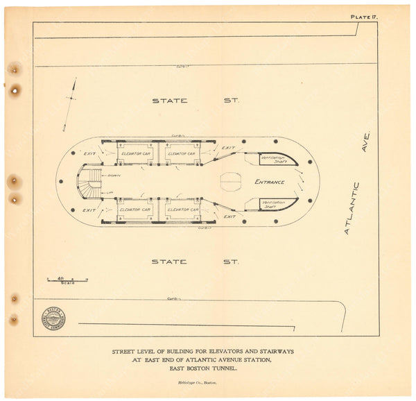 BTC Annual Report 11, 1905 Plate 17: Plan of Atlantic Avenue Station Head House