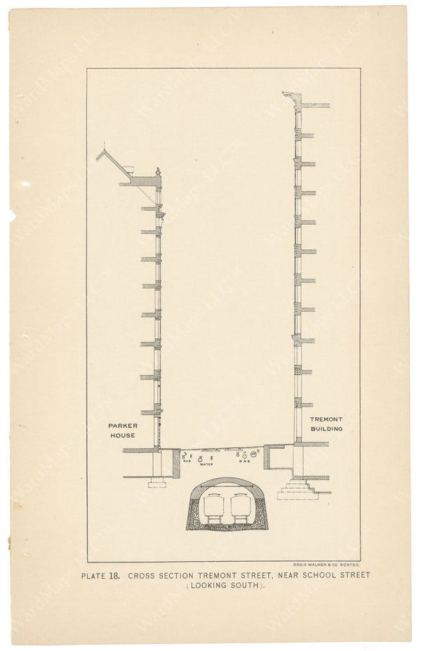 BTC Annual Report 04, 1898 Plate 18: Subway Cross Section at Parker House