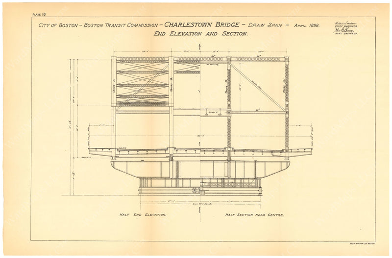 BTC Annual Report 06, 1900 Plate 18: Charlestown Bridge, Draw Elevation and Section