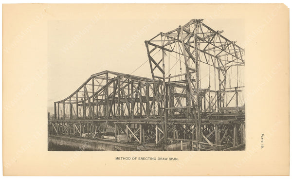 BTC Annual Report 06, 1900 Plate 19: Charlestown Bridge, Erecting Draw Span