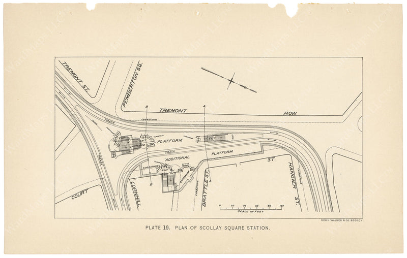 BTC Annual Report 04, 1898 Plate 19: Plan of Scollay Square Station