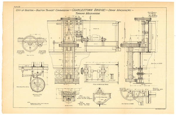 BTC Annual Report 06, 1900 Plate 20: Charlestown Bridge, Draw Turning Mechanism