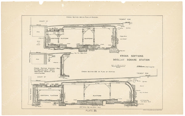 BTC Annual Report 04, 1898 Plate 20: Subway Cross Sections at Scollay Square
