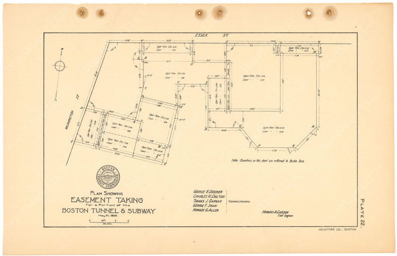 BTC Annual Report 11, 1905 Plate 22: Washington Street Tunnel Property Takings