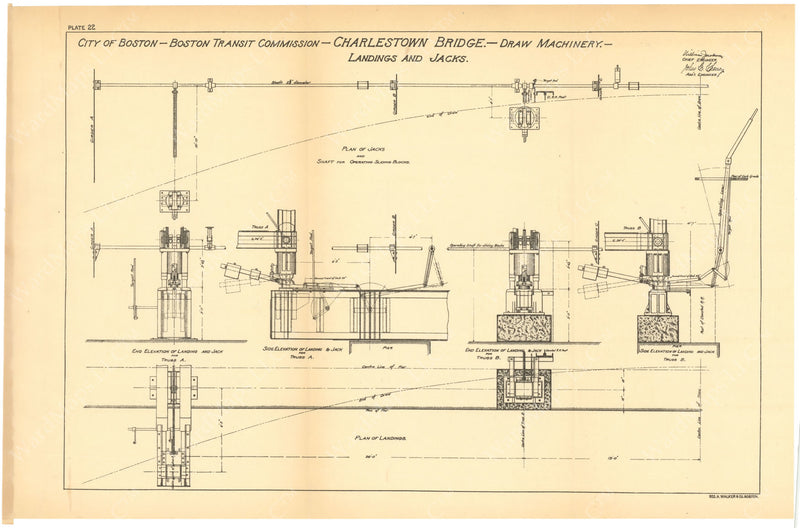 BTC Annual Report 06, 1900 Plate 22: Charlestown Bridge Draw Machinery, Landings and Jacks