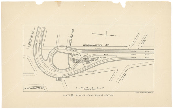 BTC Annual Report 04, 1898 Plate 25: Plan of Adams Square Station