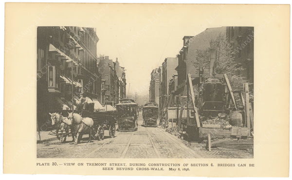 BTC Annual Report 02, 1896 Plate 30: Tremont Street During Subway Construction