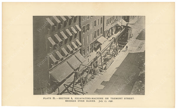 BTC Annual Report 02, 1896 Plate 31: Excavating Machine on Tremont Street