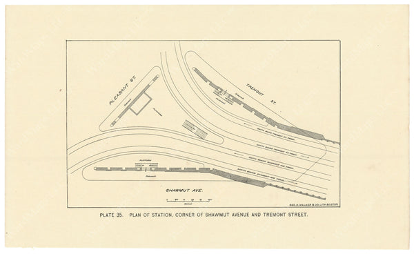 BTC Annual Report 02, 1896 Plate 35: Plan of Pleasant Street Station