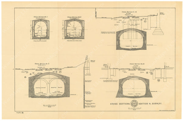 BTC Annual Report 02, 1896 Plate 36: Cross Sections at Subway Section 6