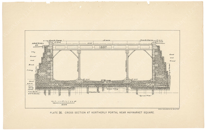 BTC Annual Report 04, 1898 Plate 36: Subway Cross Section at Haymarket Portal