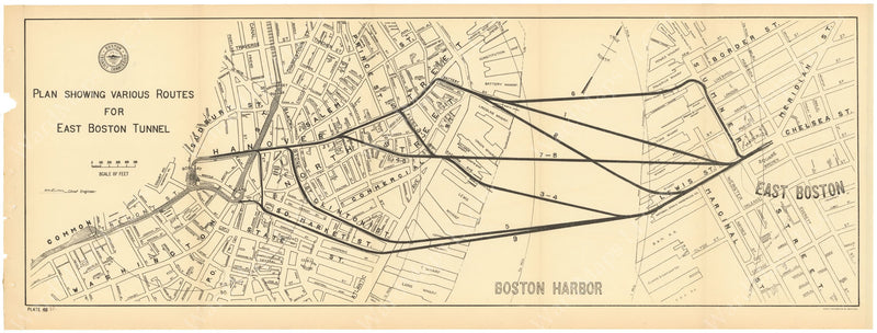 BTC Annual Report 04, 1898 Plate 37: East Boston Tunnel Routes