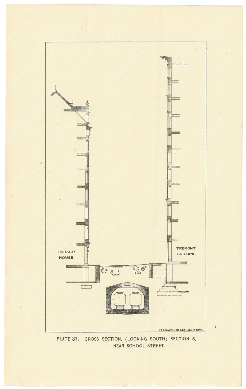 BTC Annual Report 02, 1896 Plate 37: Subway Cross Section, Tremont at School Streets