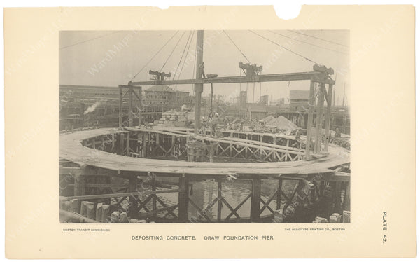 BTC Annual Report 04, 1898 Plate 42: Charlestown Bridge, Draw Foundation Pier