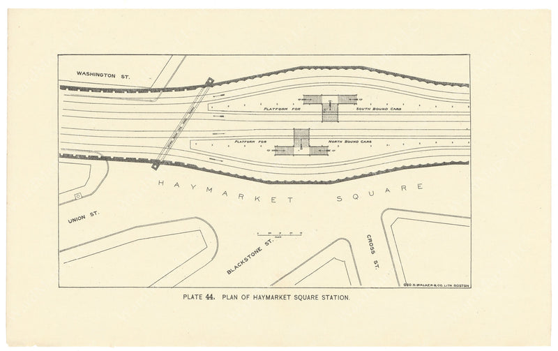 BTC Annual Report 02, 1896 Plate 44: Plan of Haymarket Square Station