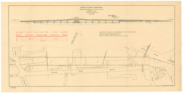 BTC Annual Report 02, 1896 Plate 47: Proposed New Bridge to Charlestown