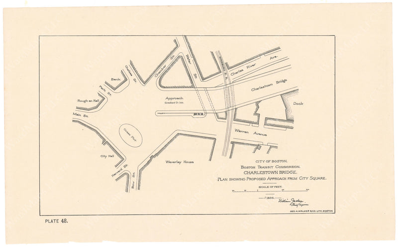 BTC Annual Report 02, 1896 Plate 48: Charlestown Bridge, Proposed Approach at City Square