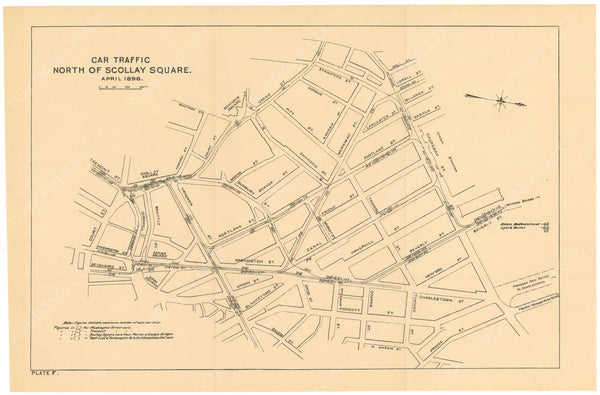 BTC Annual Report 02, 1896 Plate F: Streetcar Traffic North of Scollay Square