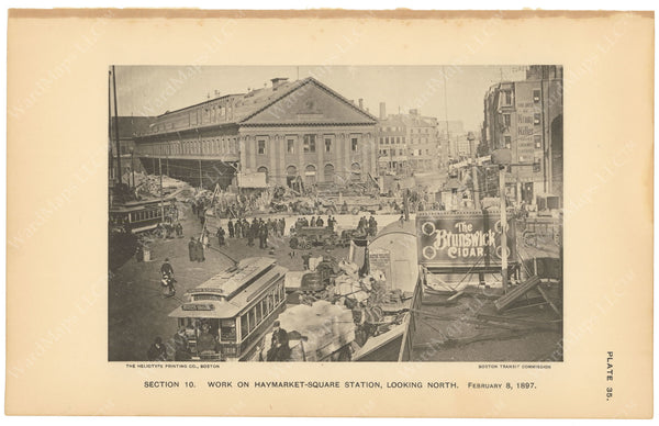 BTC Annual Report 03, 1897 Plate 35: Haymarket Square Station Work at Street Level