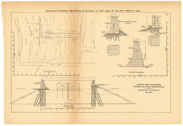 Charles River Dam Report 1903: Preliminary Drawing No 1, April 1894