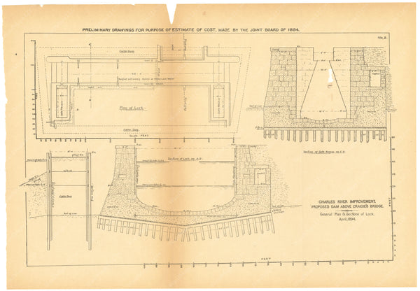 Charles River Dam Report 1903: Preliminary Drawing No 2, April 1894