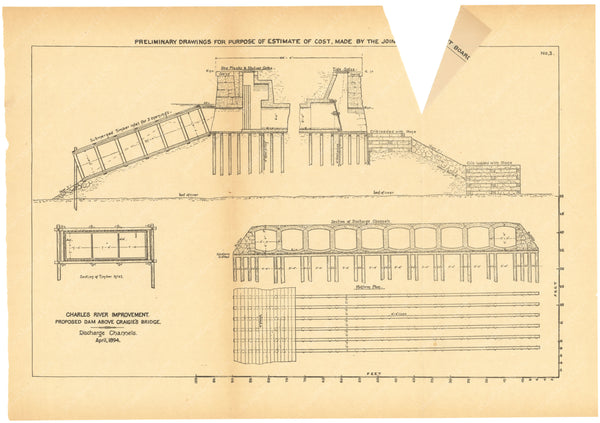 Charles River Dam Report 1903: Preliminary Drawing No 3, April 1894