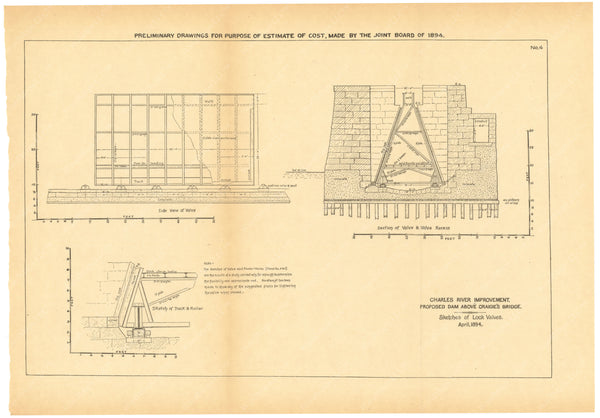 Charles River Dam Report 1903: Preliminary Drawing No 4, April 1894