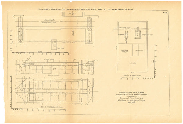 Charles River Dam Report 1903: Preliminary Drawing No 5, April 1894