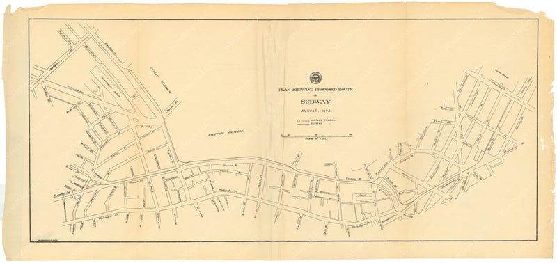 BTC Annual Report 01, 1895: Plan Showing Proposed Route of Subway, August 1895